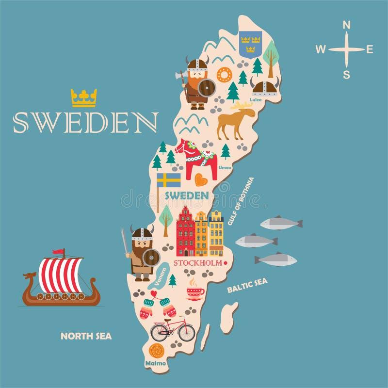 Mapa de los símbolos de Suecia con las atracciones turísticas libre illustration