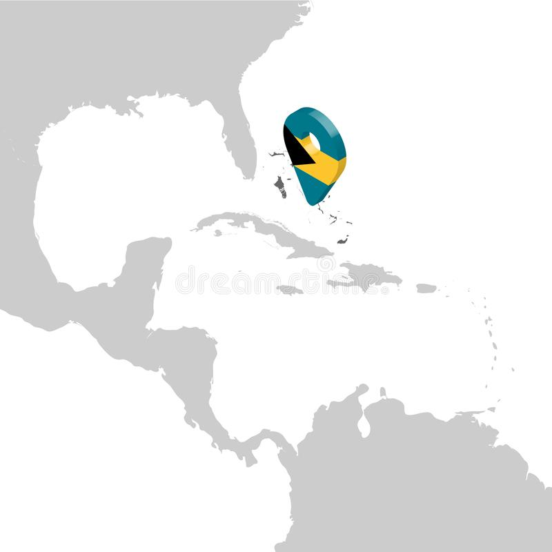 Mapa de lugar de Commonwealth das Baamas no mapa América Central pino do lugar do marcador do mapa da bandeira do Bahamas 3d Mapa ilustração stock