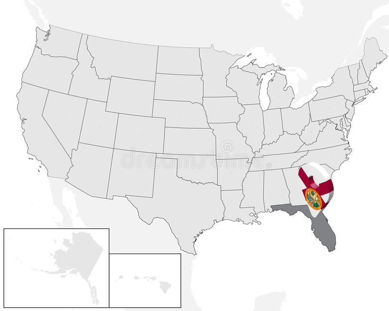 Mapa de lugar do estado Florida no mapa EUA pino do lugar do marcador do mapa da bandeira de Florida do estado 3d Mapa de alta qu ilustração royalty free