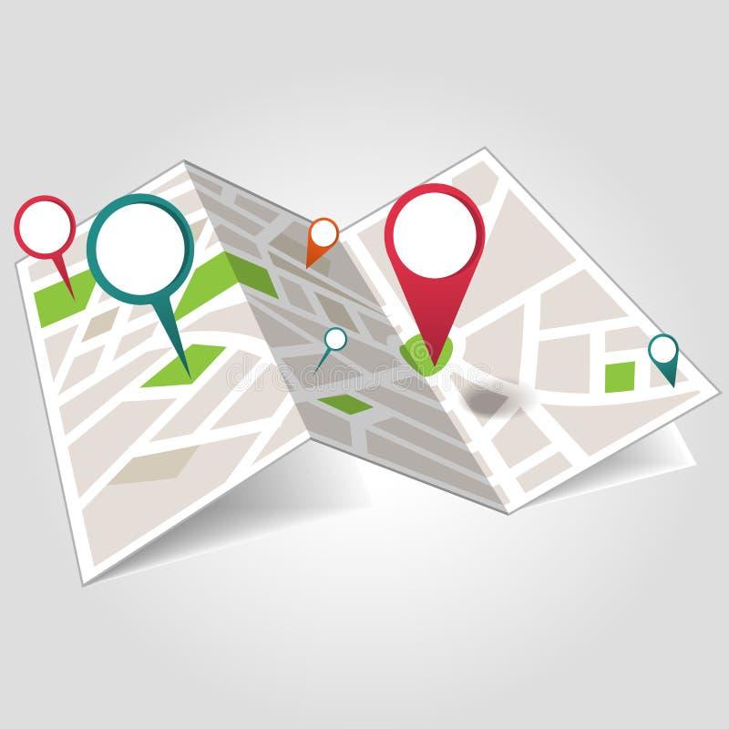 Mapa de lugar isométrico ilustração royalty free