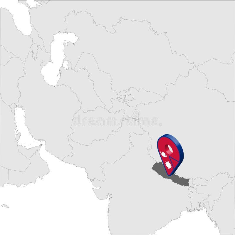 Mapa de lugar de Nepal no mapa Ásia pino do lugar do marcador do mapa da bandeira de 3d Nepal República Democrática federal do ma ilustração do vetor