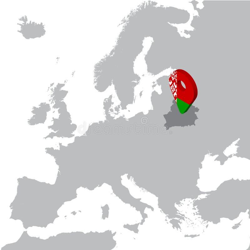 Mapa de lugar de Republic of Belarus no mapa Europa pino do lugar do marcador do mapa da bandeira de 3d Belorussia Mapa de alta q ilustração do vetor