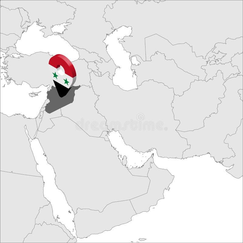 Mapa de lugar de Síria no mapa Ásia pino do lugar do marcador do mapa da bandeira de 3d Síria Mapa de alta qualidade da república ilustração do vetor