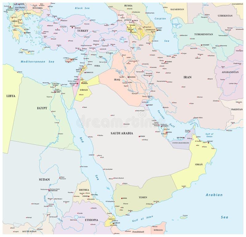 Mapa de Médio Oriente ilustração stock