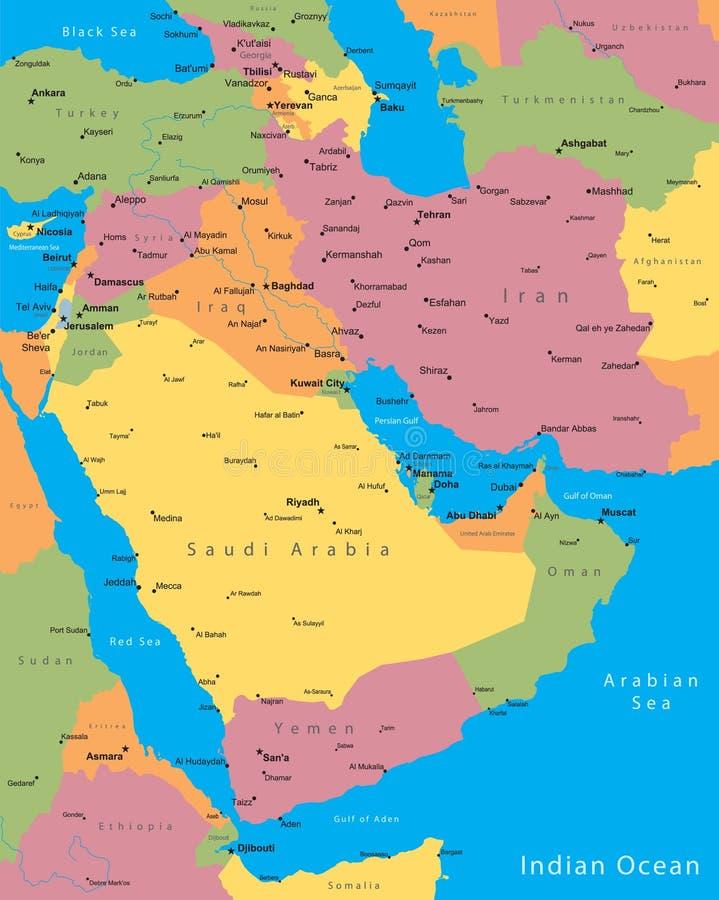 Mapa de Médio Oriente ilustração royalty free