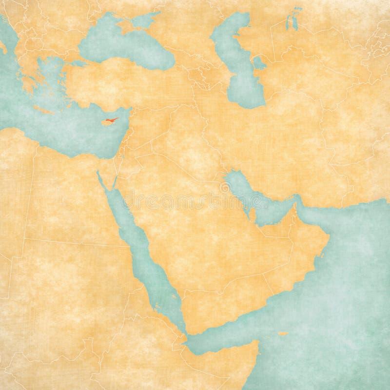 Mapa de Médio Oriente - Chipre do norte ilustração royalty free