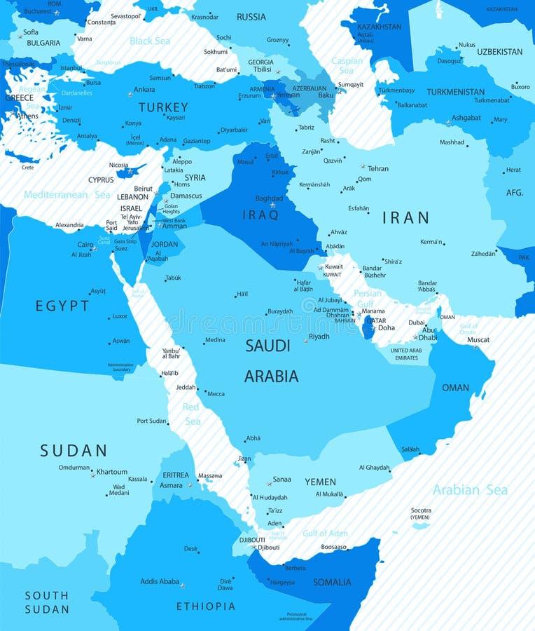 Mapa de Médio Oriente e de Ásia ilustração do vetor