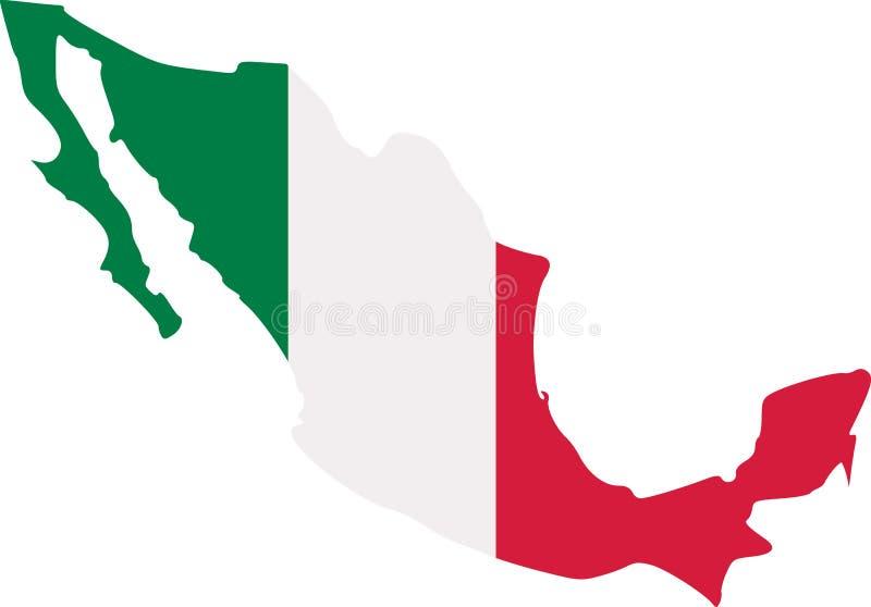 Mapa de México con la bandera ilustración del vector