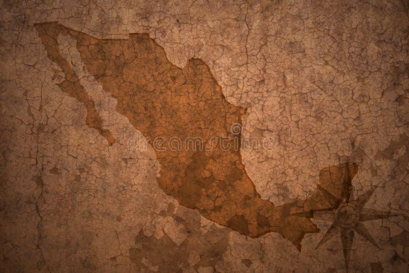 Mapa de México em um fundo velho do papel do vintage ilustração royalty free