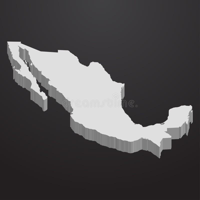 Mapa de México no cinza em um fundo preto 3d ilustração stock