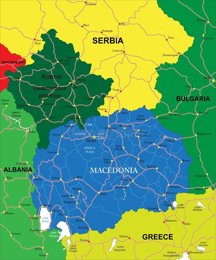 Mapa de Macedonia ilustración del vector