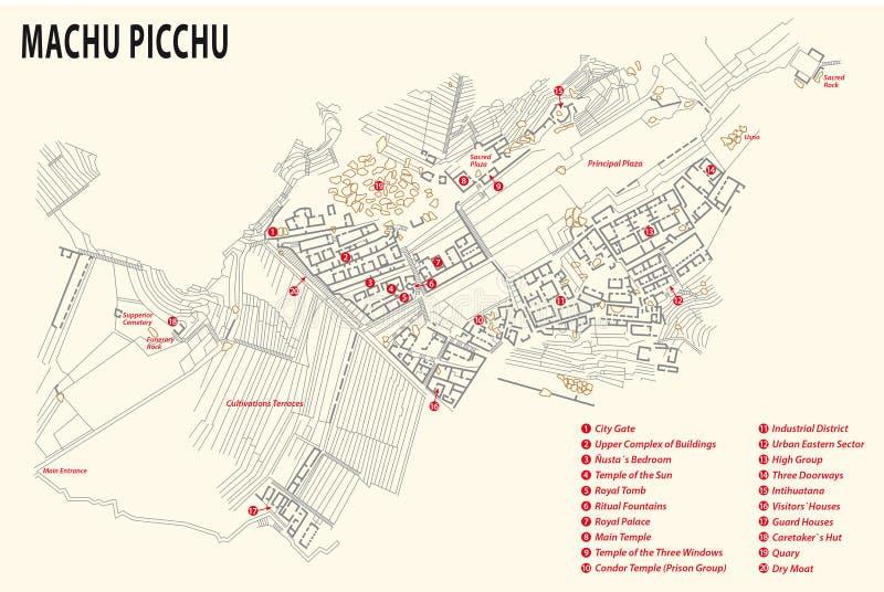 Mapa de Machu Picchu imagem de stock