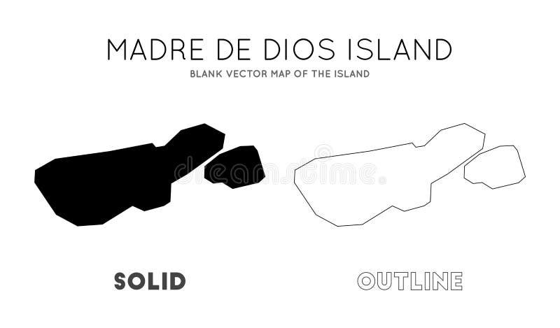Mapa de Madre de Dios Island stock de ilustración