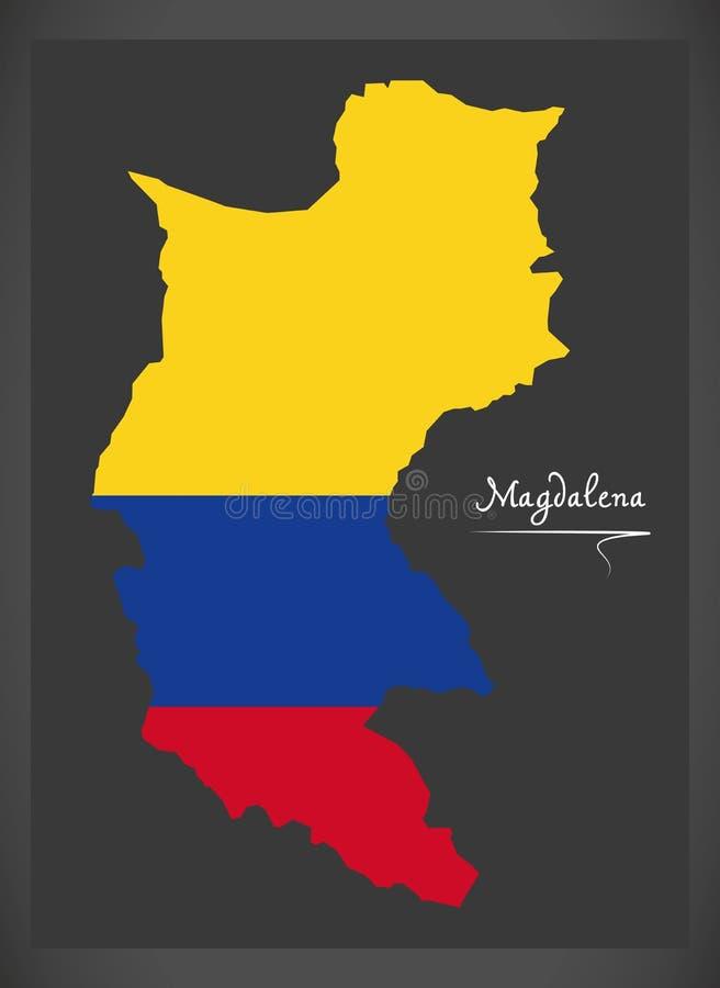 Mapa de Magdalena de Colômbia com illustrat colombiano da bandeira nacional ilustração do vetor