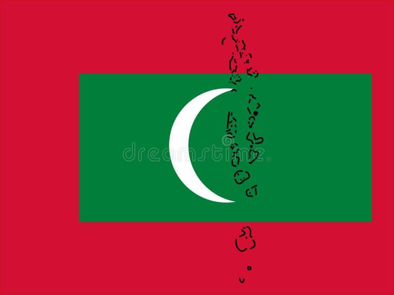 Mapa de Maldives ilustração royalty free