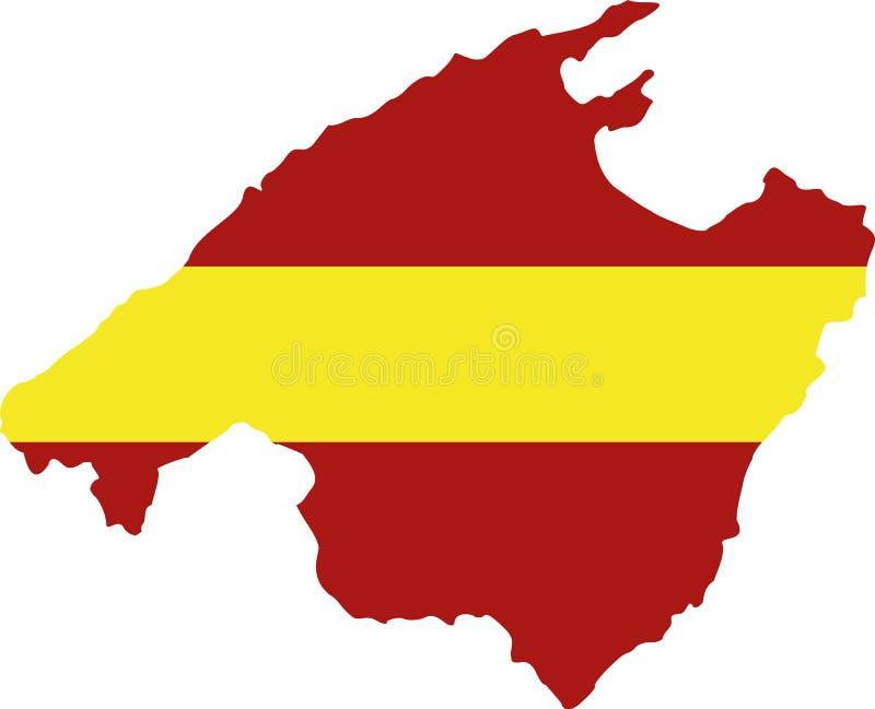 Mapa de Mallorca com bandeira ilustração do vetor