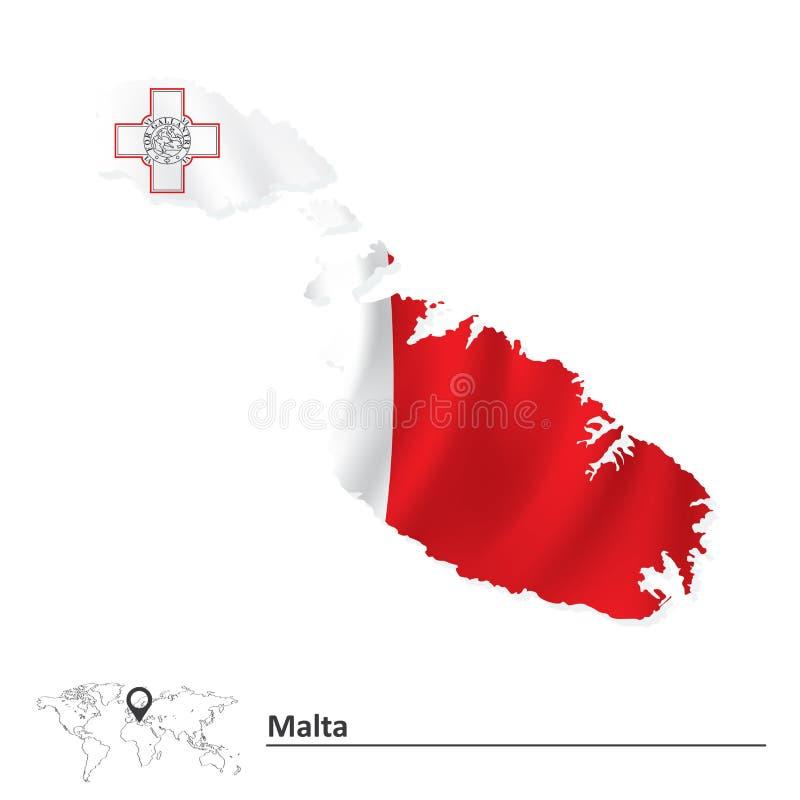 Mapa de Malta con la bandera ilustración del vector