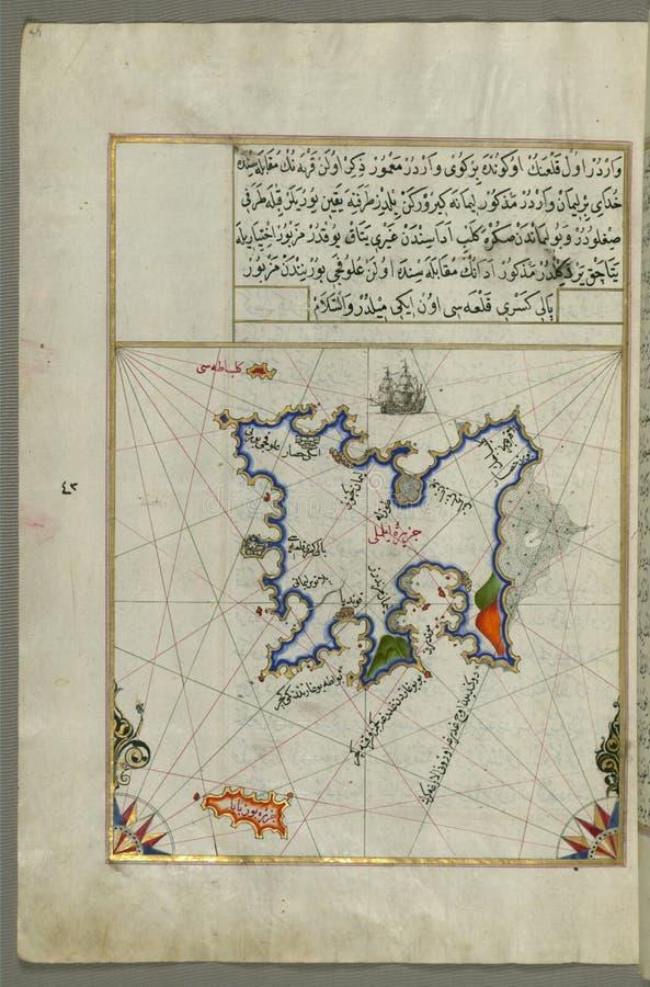 Mapa de manuscrito iluminado da ilha de Lemnos, do livro na navegação, Walters Art Museum Ms W 658, fol 47a fotos de stock