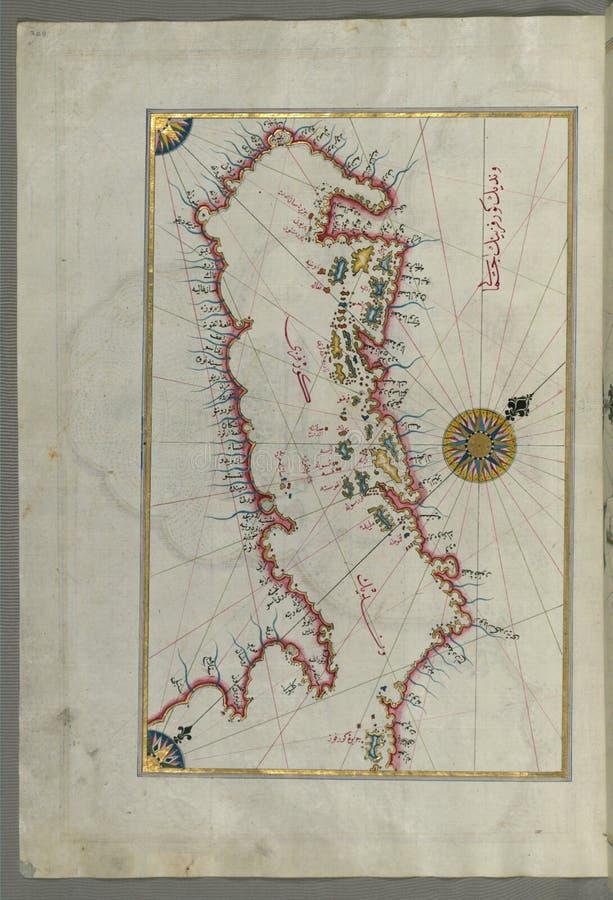 Mapa de manuscrito iluminado das ilhas da costa adriático do livro na navegação, Walters Art Museum Ms W 658, fol 208a imagens de stock royalty free