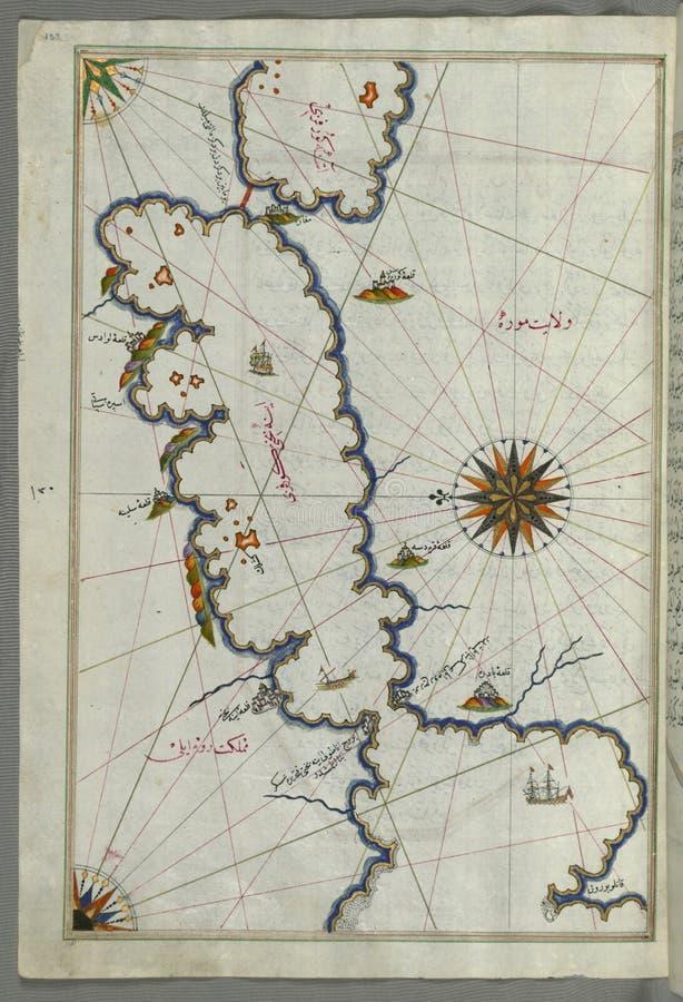 Mapa de manuscrito iluminado de Saronikos ( Aiyina) Baía, do livro na navegação, Walters Art Museum Ms W 658, fol 133a foto de stock