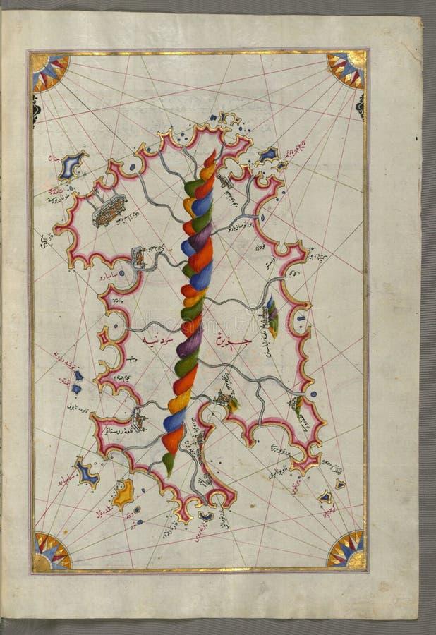Mapa de manuscrito iluminado do Sardina do livro da navegação, Walters Art Museum, Senhora W 658, fol 226b fotografia de stock