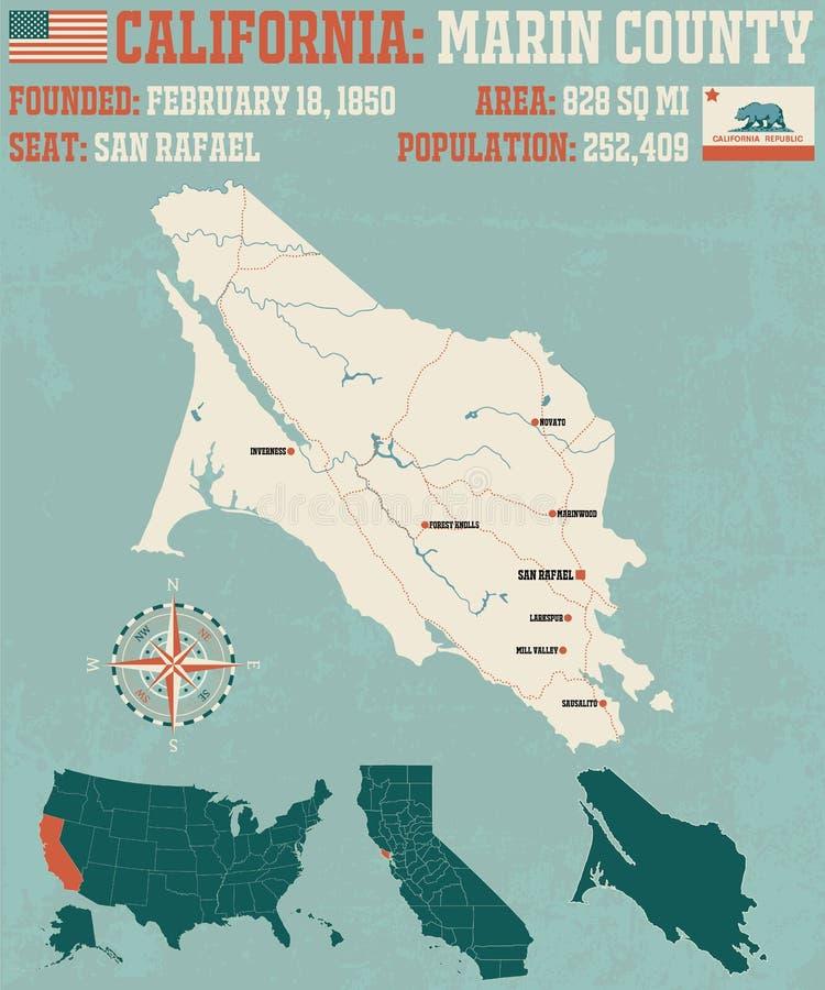 Mapa de Marin County em Califórnia ilustração stock