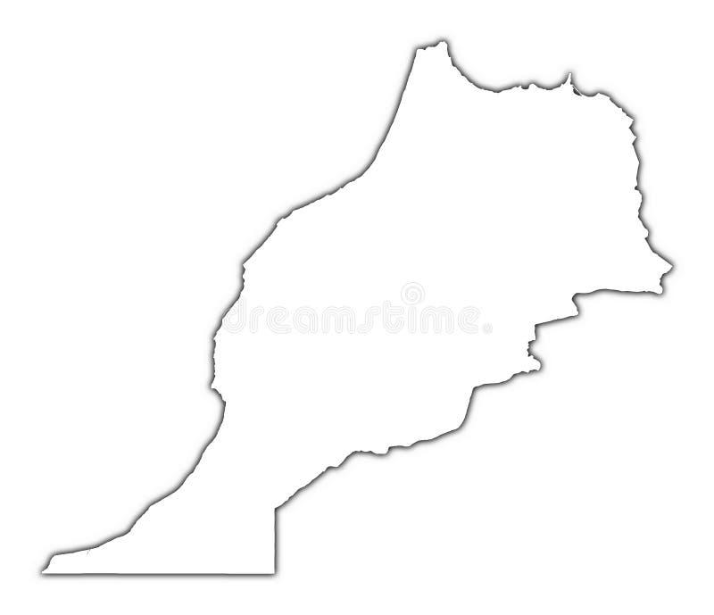 Mapa de Marrocos com sombra ilustração royalty free