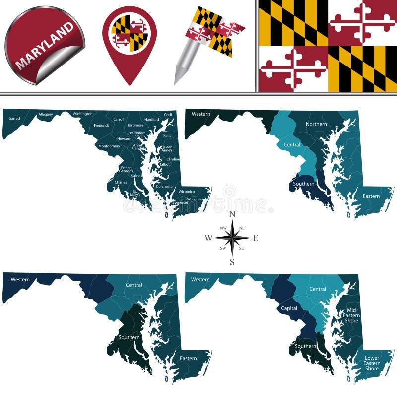 Mapa de Maryland con regiones stock de ilustración