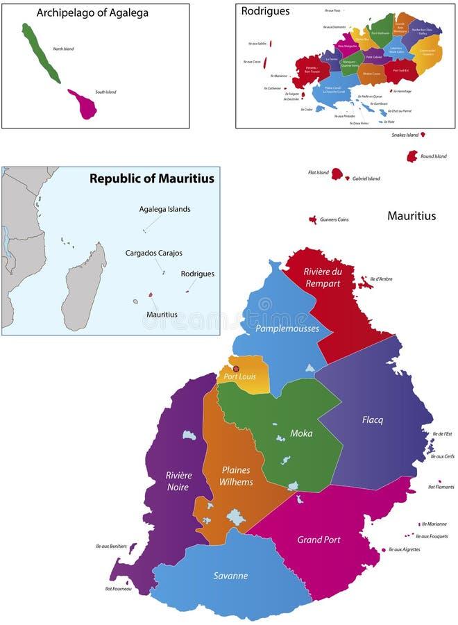 Mapa de Maurícia ilustração royalty free