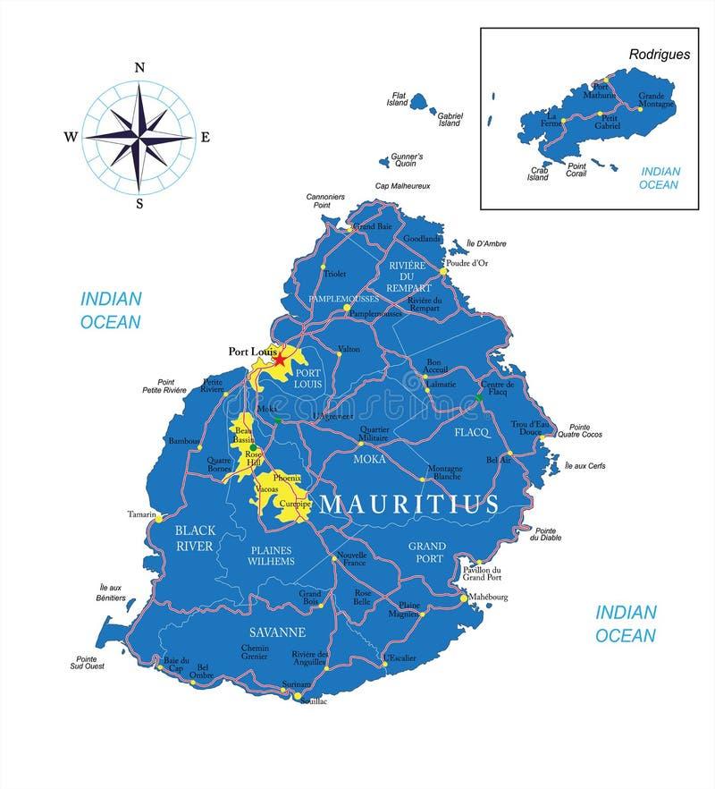 Mapa de Maurícias ilustração stock