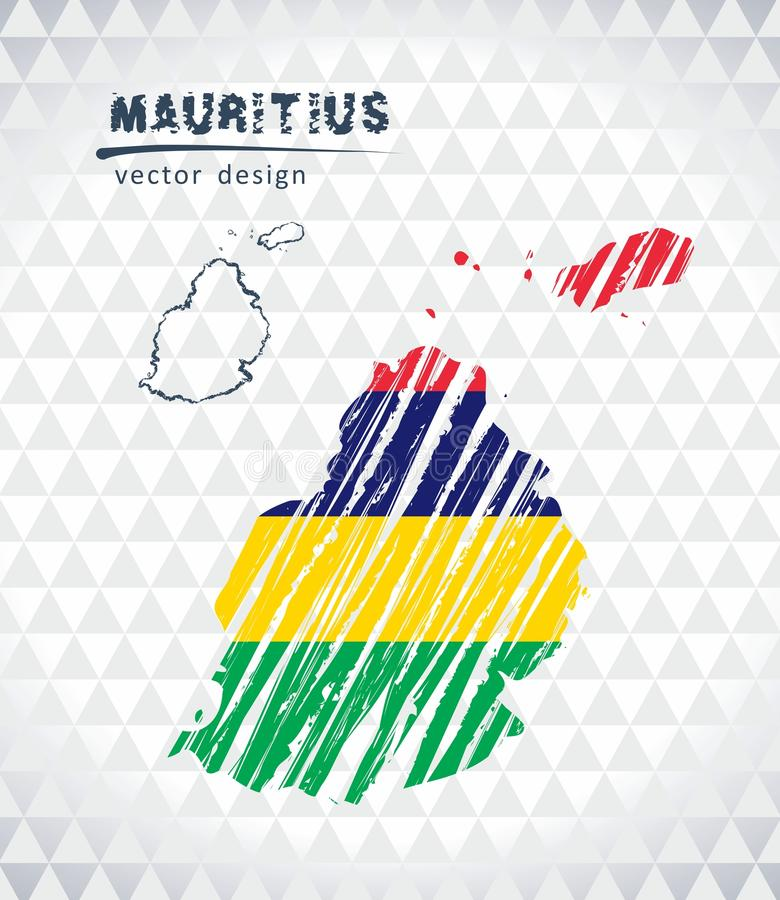 Mapa de Maurícias com o mapa tirado mão da pena do esboço para dentro Ilustração do vetor ilustração royalty free