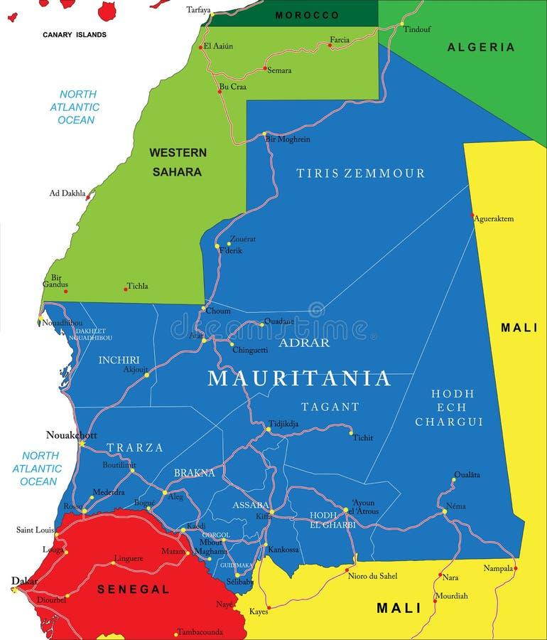 Mapa de Mauritânia ilustração stock
