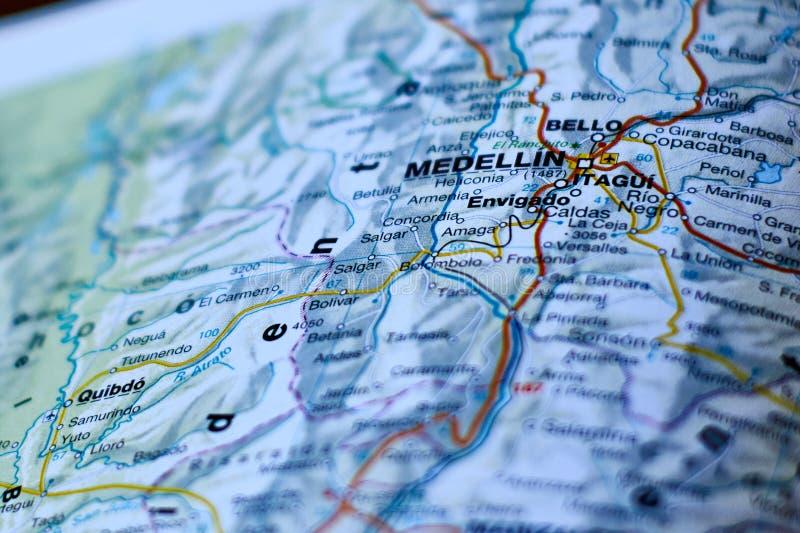 Mapa de medellin imágenes de archivo libres de regalías