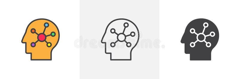 Mapa de mente no ícone principal humano ilustração royalty free
