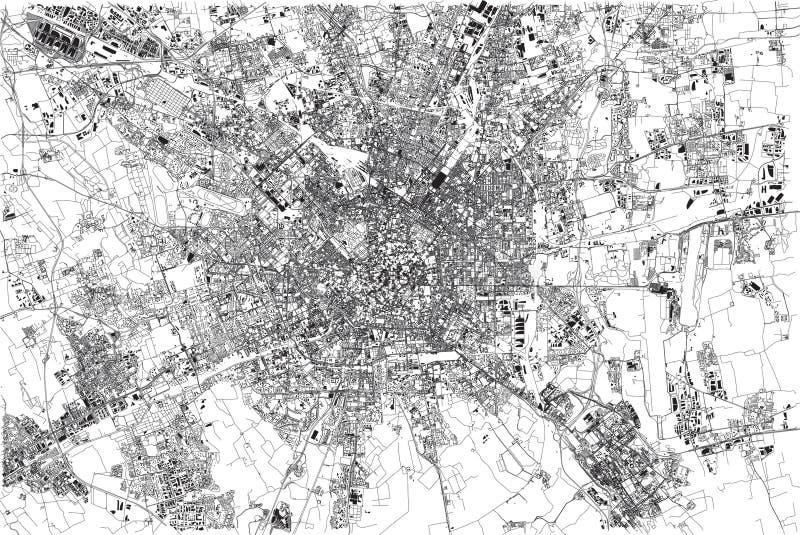 Mapa de Milán, ciudad, Lombardía, Italia stock de ilustración