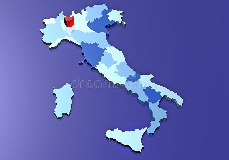 Mapa de Milão e de Italy ilustração stock