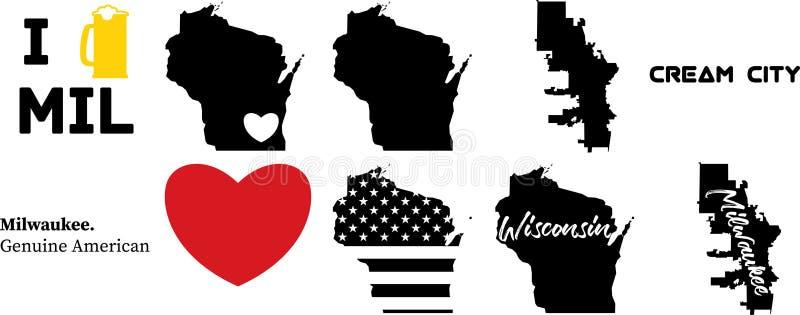 Mapa de Milwaukeee Wisconsin los E.E.U.U. con el mapa de Wisconsin ilustración del vector