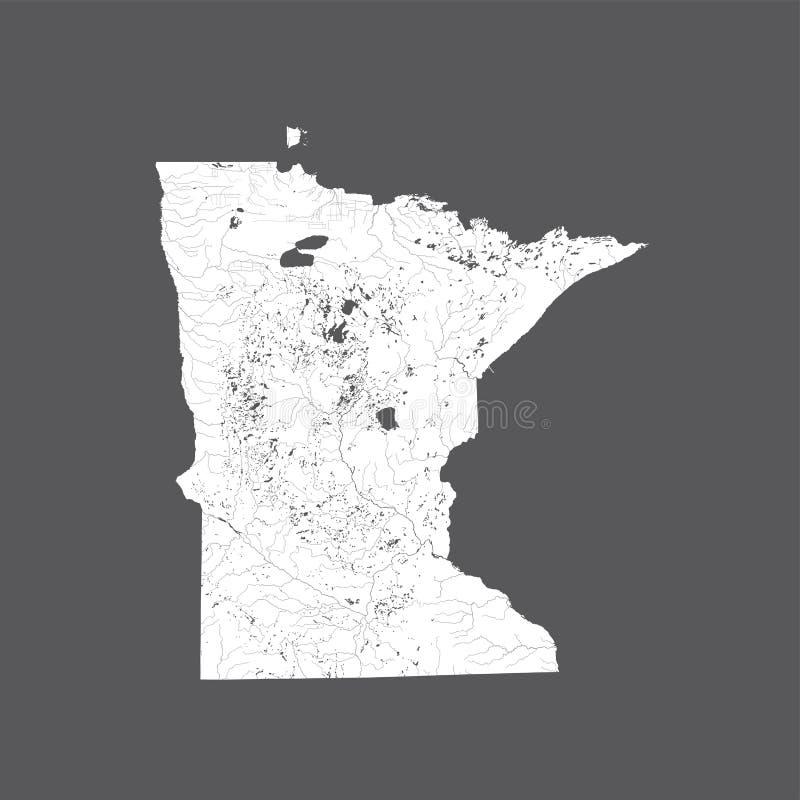 Mapa de Minnesota con los lagos y los ríos ilustración del vector