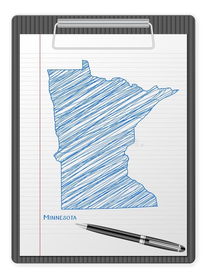 Mapa de Minnesota del tablero stock de ilustración