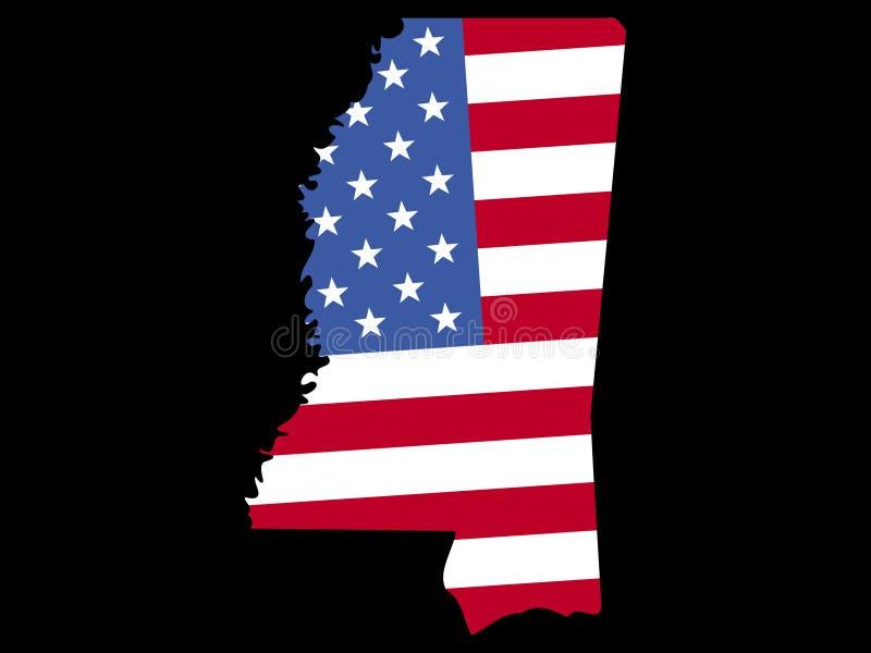 Mapa de Mississippi com bandeira ilustração do vetor