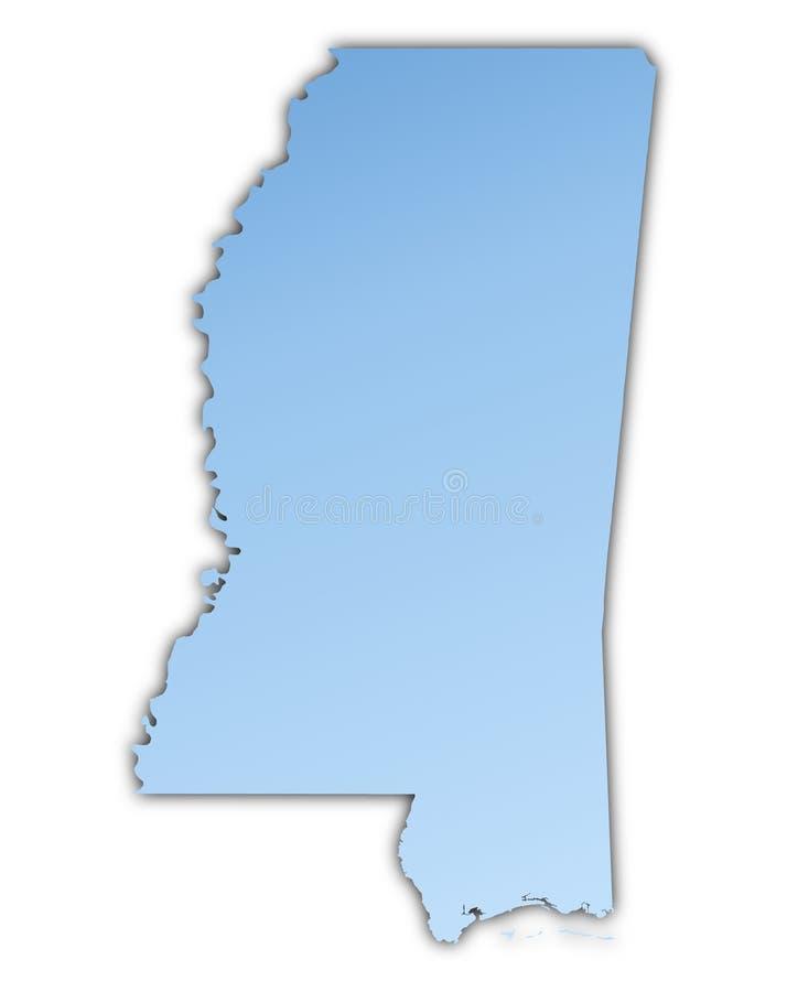 Mapa de Mississippi (EUA) ilustração stock
