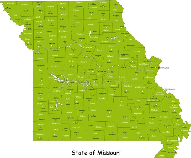 Mapa de Missouri ilustração stock