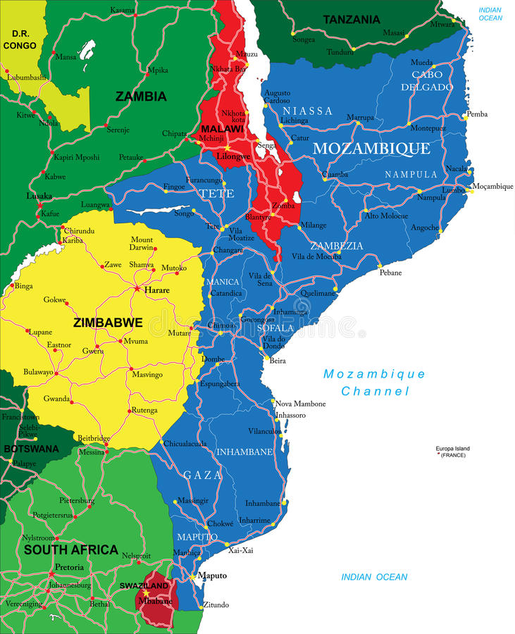 mapa de moçambique detalhado Mapa de Moçambique ilustração do vetor. Ilustração de destino  mapa de moçambique detalhado