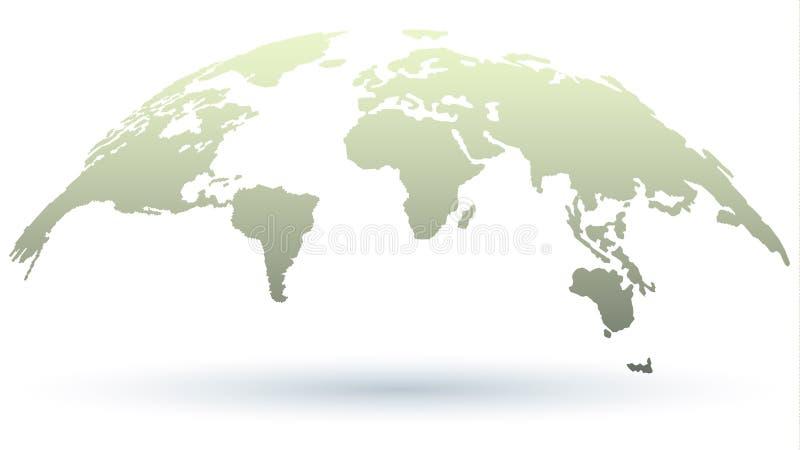 Mapa de moda 3D del mundo en Grey Color ligero con la sombra stock de ilustración