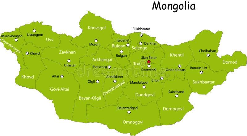 Mapa de Mongolia ilustração stock