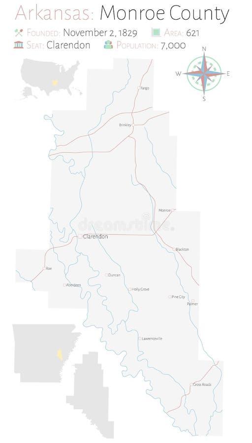 Mapa de Monroe County en Arkansas ilustración del vector