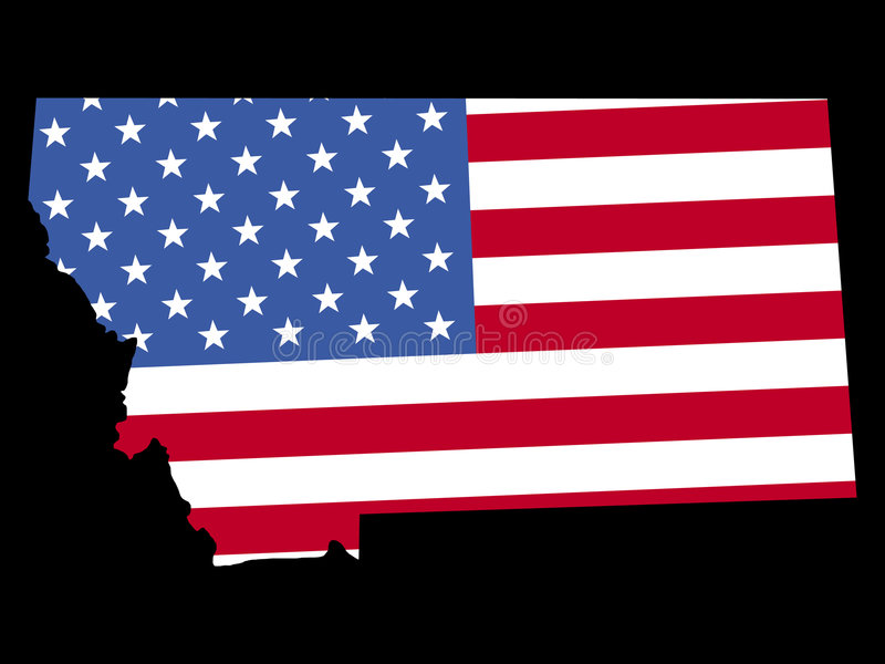 Mapa de Montana com bandeira ilustração do vetor