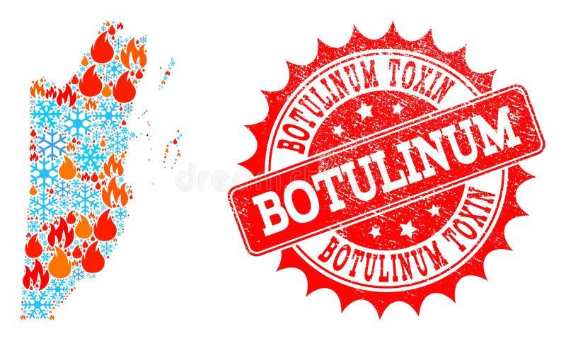 Mapa de mosaico de Belice del fuego y copos de nieve y sello texturizado toxina Botulinum libre illustration