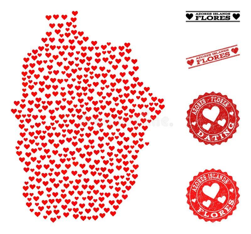 Mapa de mosaico bonito de selos de Açores - de ilha e de Grunge de Flores para Valentim ilustração do vetor