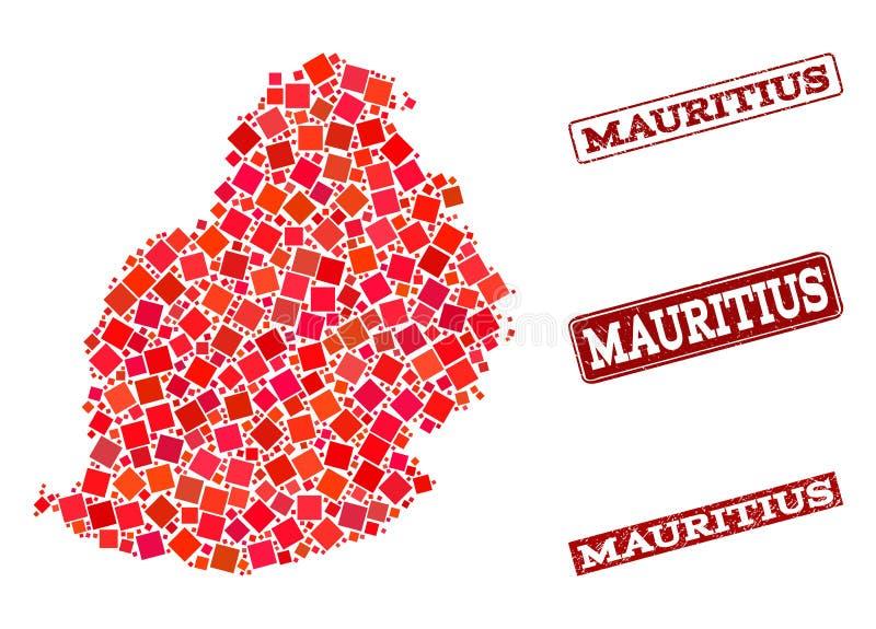 Mapa de mosaico da colagem de Mauritius Island e do selo da escola do Grunge ilustração stock